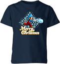 T-Shirt de Noël Mario Joyeux Noël Boule de Neige - Super Mario Nintendo - Bleu Marine - 5-6 ans - Navy