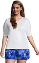 Women's Plus Size Crew Neck Elbow Sleeve Rash Guard UPF 50 Sun Protection Modest Swim Tee - Lands' End - White - 2X