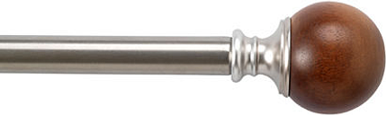 Bali Wood Ball 1 IN Curtain Rod, One Size , Silver