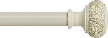 Bali Scroll Knob Adjustable Curtain Rod, One Size , Beige