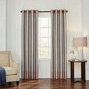 Eclipse Monty Color Block Energy Saving 100% Blackout Grommet-Top Single Curtain Panel, One Size , Beige