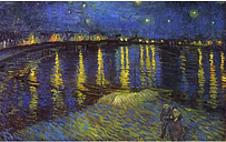 'Starry Night Over the Rhone' by Vincent Van Gogh Oil Painting Print on Wrapped Canvas ClassicLiving Size: 35cm H x 46cm W