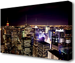 'NYC Empire State Building Red Glow Night' Photograph on Wrapped Canvas East Urban Home Size: 66 cm H x 101.6 cm W