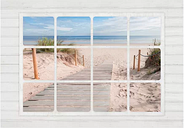 Window and Beach Semi-Gloss Paste the Wall Mural East Urban Home Size: 175cm H x 250cm W x 0.02cm D