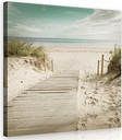 Beach Photographic Print on Wrapped Canvas in Turquoise/Beige/White East Urban Home Size: 80cm H x 80cm W