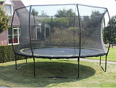 Silhouette Round Trampoline with Safety Enclosure Exit Toys Size: 202cm H x 305cm W x 305cm D
