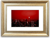 'New York City Empire State Building Red' Framed Graphic Art East Urban Home Size: 50 cm H x 70 cm W, Frame Options: Silver