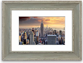 'Empire State Building Skies Cornwall' Framed Photographic Print East Urban Home Size: 93 cm H x 126 cm W, Frame Options: Blue