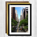 'New York City Street Empire State Building' Framed Photographic Print Big Box Art Frame Colour: Black