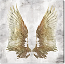 'Bright Light Gold Wings' Graphic Art on Wrapped Canvas East Urban Home Size: 40.6 cm H x 40.6 cm W x 3.8 cm D