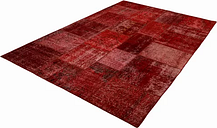 Patchwork Hand Knotted Wool Red Rug Bakero