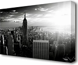'Empire State Building Sun Glow Black and White' Photograph on Wrapped Canvas East Urban Home Size: 66 cm H x 101.6 cm W