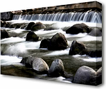 'Waterfall Rocks' Photographic Print on Canvas East Urban Home Size: 101.6 cm H x 142.2 cm W
