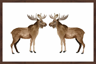 """""""Double Moose"""" by Shayna Pitch Framed Painting Print"""