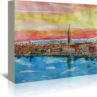 'Fabulous Venice Italy with Snowcovered Alps 2' by Markus Bleichner Art Print Wrapped on Canvas