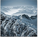 Snowy Mountain Peaks in the Swiss Alps Photographic Print on Canvas East Urban Home Size: 90cm L x 90cm W