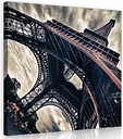 Eiffel Tower in Paris Photographic Art Print on Wrapped Canvas in Grey/Black/Red East Urban Home Size: 40cm H x 40cm W