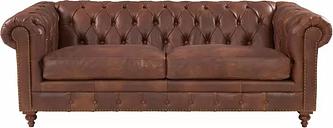 Sanabria Chesterfield Genuine Leather 2 Seater Sofa Rosalind Wheeler