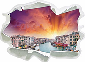Venice River Houses Wall Sticker East Urban Home