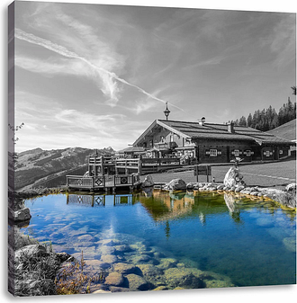 Beautiful House in the Alps Photographic Print on Canvas