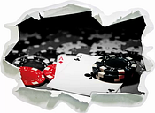 Playing Cards on Poker Table Wall Sticker East Urban Home Size: 67cm H x 92cm W x 0.02cm D