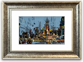 'As the Night Falls in the City Cornwall Living Room' - Picture Frame Photograph Print on Paper East Urban Home Size: 93cm H x 126cm W x 1cm D, Frame