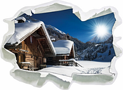 Snow Covered Huts in the Alps Wall Sticker