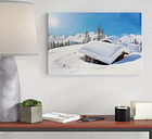 Snowy Mountain Huts in the Alps Photographic Print on Canvas