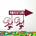 Thing One And Thing Two Adventure Sign Wall Sticker Happy Larry Colour: Burgundy
