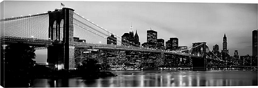 'Brooklyn Bridge Across the East River at Dusk, Manhattan, New York City, New York State, Usa' Photograph on Wrapped Canvas