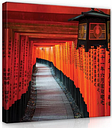 Corridor Photographic Print on Wrapped Canvas in Red/Orange/Black East Urban Home
