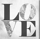 'Build on Love Silver' Typography on Wrapped Canvas East Urban Home Size: 36 cm H x 36 cm W x 3.8 cm D