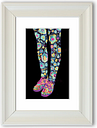 Flower Power Legs - Picture Frame Graphic Art Print on Paper