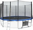 Round Backyard Above Ground Trampoline with Safety Enclosure Freeport Park Pad Colour: Blue, Size: 10'