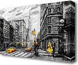 'Romantic Walk in the Big Yellow City New York' Painting Print on Canvas East Urban Home Size: 81.3 cm H x 121.9 cm W
