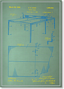 Table Tennis Blue Print Graphic Art Wrapped on Canvas