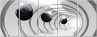 'Space Tunnel Narrow' Graphic Art Multi-Piece Image on Wrapped Canvas East Urban Home Size: 80 cm H x 200 cm W