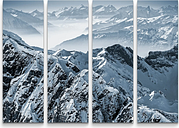 Snowy Mountain Peaks in the Swiss Alps Photographic Print Multi-Piece Image on Canvas