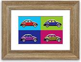 'Beetle Pop Art Cornwall' - Picture Frame Graphic Art Print on Paper East Urban Home Size: 93cm H x 126cm W x 1cm D, Frame Option: Teak