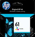HP 61 Tri-color Original Ink Cartridge, CH562WN#140