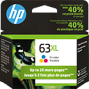 HP 63XL High Yield Tri-color Original Ink Cartridge, F6U63AN#140