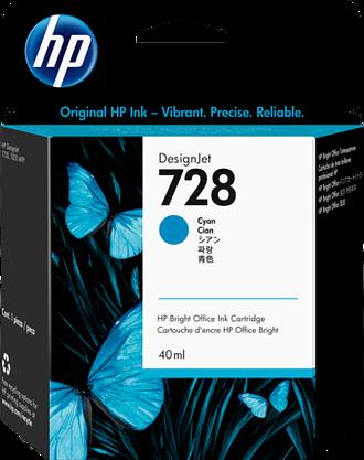 HP 728 40-ml Cyan DesignJet Ink Cartridge, F9J63A