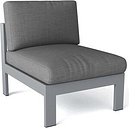 Lucca DS-1002 Center Chair with Sunbrella Cushion and 2mm Thick Aluminum Frame in Grey 170 Grit Powder