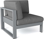 Lucca DS-1003 Corner Chair with Sunbrella Cushion and Aluminum Frame in Grey 170 Grit Powder
