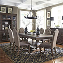 Lucca Collection535-DR-72PS 7PC Pedestal Table Set with 18 Inch Leaf and Nylon Chair Glides in Cordovan Brown