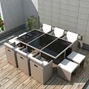 vidaXL Set comedor de jardín 11 piezas y cojines ratán sintético beige