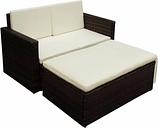 vidaXL Set muebles de jardín 2 piezas y cojines ratán sintético marrón