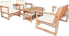 vidaXL Set de muebles de jardín 4 piezas y cojines bambú