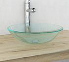 vidaXL Basin Tempered Glass 42 cm Transparent