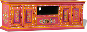 vidaXL TV Cabinet Solid Mango Wood Pink Hand Painted